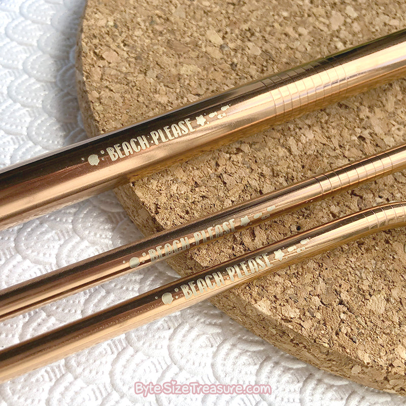 Beach Please \\ Rose Gold Stainless Steel Straw Set