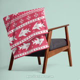 Red & Green Fish-mas Sweater \\ Throw Blanket