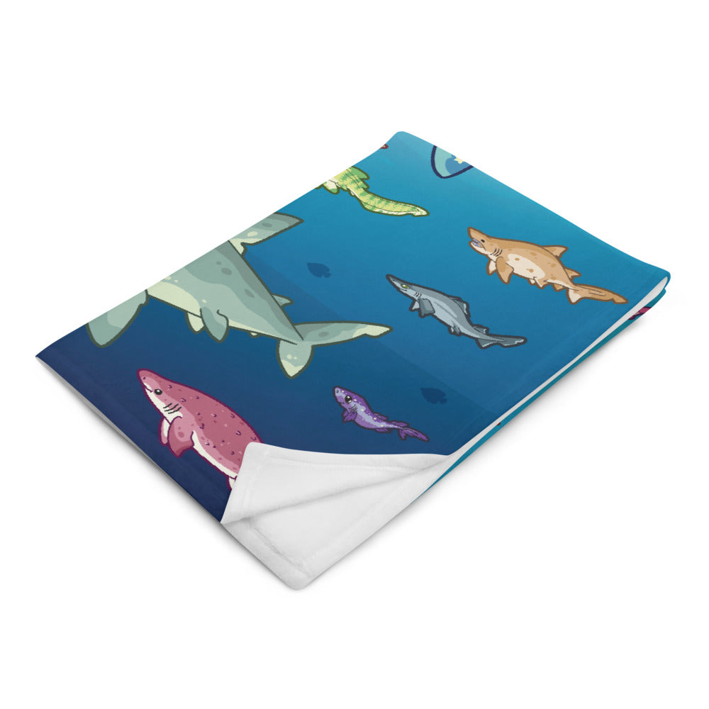 Shark Species Lineup \\ Throw Blanket