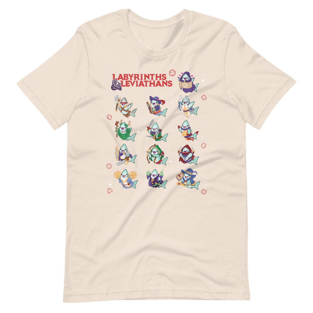 Labyrinths & Leviathans RPG Shark Classes \\ Short-Sleeve Unisex T-Shirt