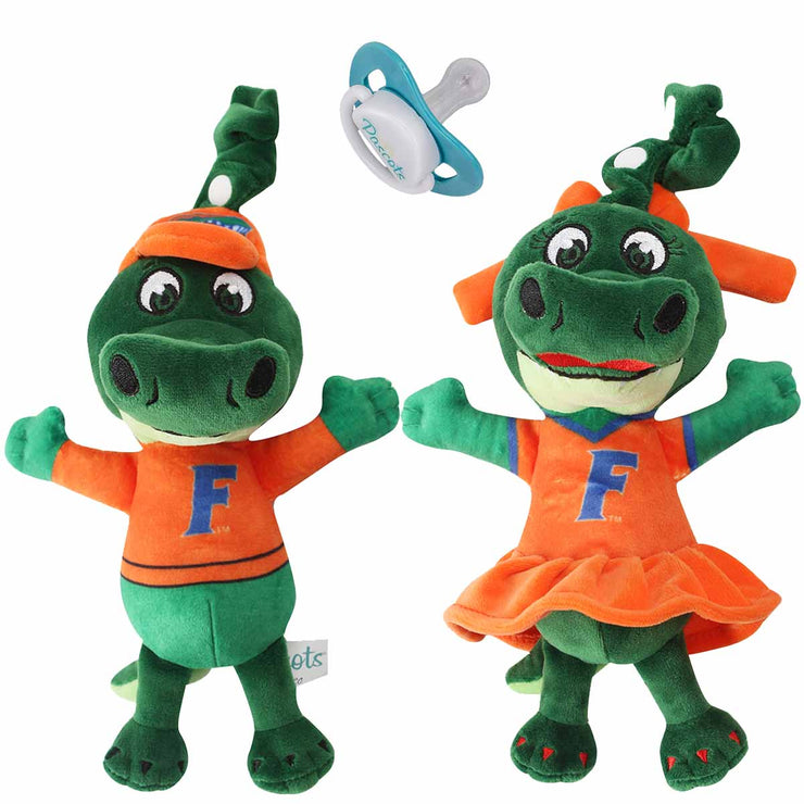 University of Florida Albert and Alberta Mascot Pacifier Holder and Plush Toys