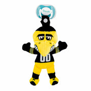 Iowa Herky Mascot Pacifier Holder Plush Toy. Snap top allows this pacifier holder to be attached to strollers, diaper bags, and much more.
