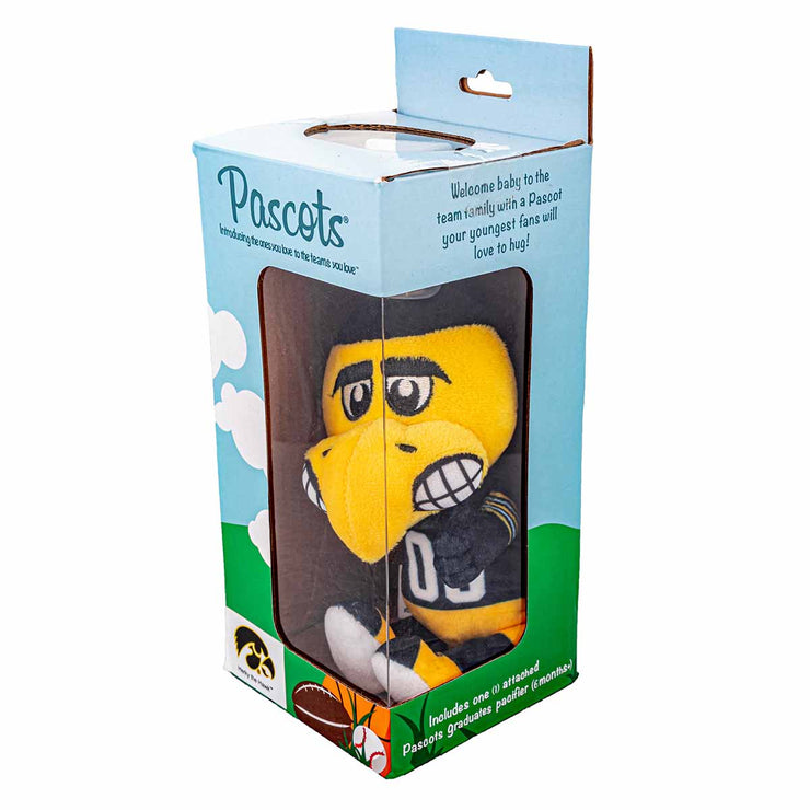 Iowa Herky Mascot Pacifier Holder Plush Toy shown on side