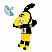 Iowa Herky Mascot Pacifier Holder Plush Toy size view offers  a great view of this pacifier holder.