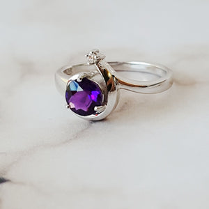 """Celeste"" Sterling Silver Arizona Four Peaks Amethyst Ring"