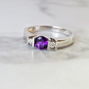"""Brianna"" 14K White Gold Arizona Four Peaks Amethyst Ring"