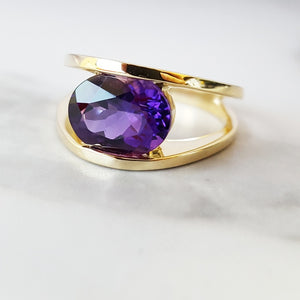 """Nora"" 14k Yellow Gold Arizona Amethyst Ring"