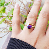 """Zinnia"" 14k Yellow Gold Amethyst Ring"