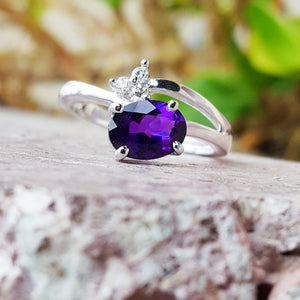 """Zinnia"" 14K White Gold Amethyst Ring"