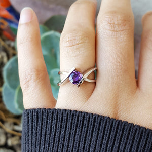 """Jackie"" Sterling Silver Arizona Four Peaks Amethyst Ring"