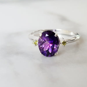 """Megan"" Sterling Silver Arizona Amethyst and Peridot Ring"