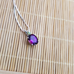 """Amelia"" Sterling Silver Arizona Amethyst and Peridot Pendant"