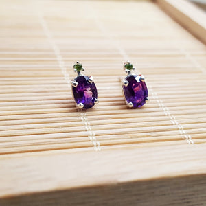 """Riley"" Sterling Silver Arizona Four Peaks Amethyst and Peridot Studs"