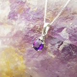 """Ella"" Sterling Silver Arizona Four Peaks Amethyst and Diamond Pendant"
