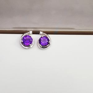 """Halley"" Sterling Silver Arizona Amethyst Earrings"