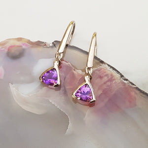 """Jamie"" Sterling Silver Arizona Four Peaks Amethyst Drop Earrings"