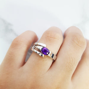 """Zoe"" Sterling Silver Arizona Four Peaks Amethyst Ring"