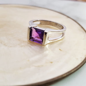 """Gina"" Sterling Silver Arizona Four Peaks Amethyst Ring"