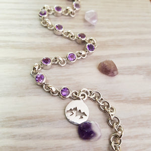 """Julia"" Sterling Silver Arizona Four Peaks Amethyst Bracelet"