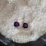 """Brooke"" 14K White Gold Arizona Four Peaks Amethyst Stud Earrings"
