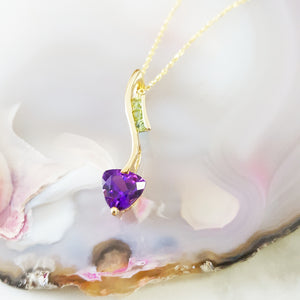 """Kimbra"" 14k Yellow Gold Arizona Amethyst and Arizona Peridot Pendant"