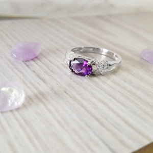 """Sydnee"" 14k White Gold Arizona Four Peaks Amethyst Ring"