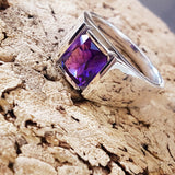 """Agave"" Sterling Silver Men's Arizona Four Peaks Amethyst Ring"
