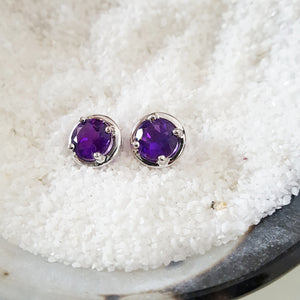 """Danielle"" Sterling Silver Arizona Amethyst Earrings"