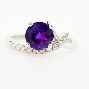 """Fae"" 14K White Gold Arizona Amethyst Ring 362917"