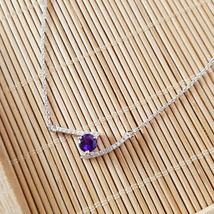"""Gigi"" 14k White Gold Amethyst Necklace"