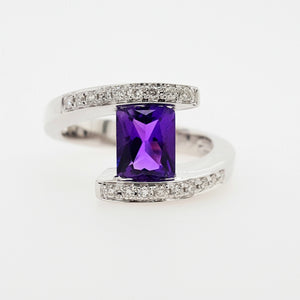 """Delphine"" 14K White Gold Arizona Amethyst Ring 362937"