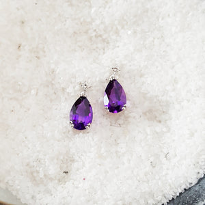 """Darci"" 14K White Gold Amethyst Stud Earrings"