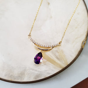 """Florence"" 14k Yellow Gold Amethyst Necklace"