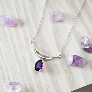 """Florence"" 14K White Gold Amethyst Necklace"