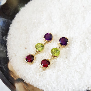 Three Stone Arizona Amethyst, Peridot, and Garnet Earrings