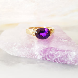 """Bronti"" 14K Yellow Gold Arizona Amethyst Ring"