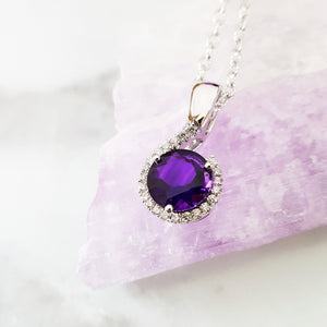 """Rosabel"" 14k White Gold Amethyst Necklace"