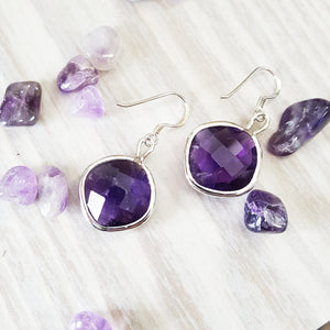 """Heather"" Sterling Silver Dangle Amethyst Earrings"