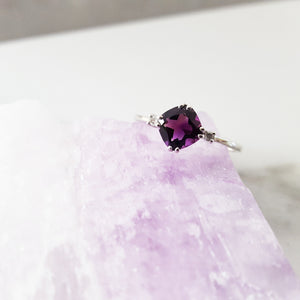 """Tillie"" 14K White Gold Amethyst Ring"