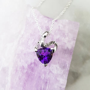 """Lucille"" Sterling Silver Amethyst Pendant"