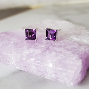 """Janine"" Sterling Silver Amethyst Earrings"