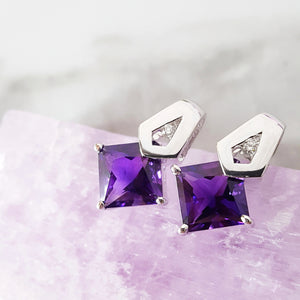 """Gayle"" 14k White Gold Amethyst Earrings"