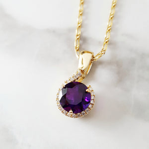 """Rosabel"" 14k Yellow Gold Amethyst Pendant"