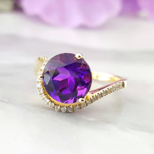 """Brielle"" 14k Yellow Gold Amethyst Ring"