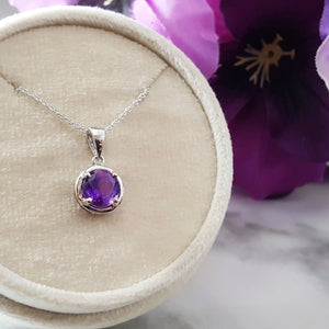 """Harper"" Sterling Silver Amethyst Necklace"