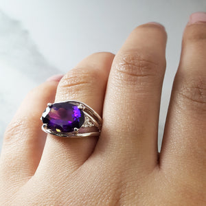 """Rebecca"" 14k White Gold Arizona Amethyst Ring"