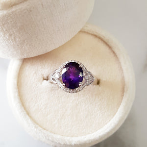 """Charlotte"" 14k Gold Arizona Amethyst Ring"