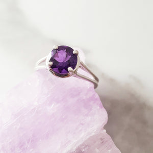 """Claire"" Sterling Silver Amethyst Ring"