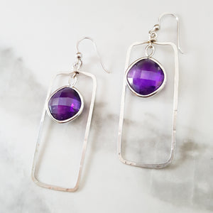 """Terra"" Sterling Silver Amethyst Earrings"