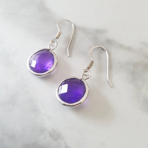 """Skyla"" Sterling Silver Amethyst Earrings"